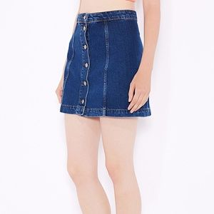 MOTO button front denim skirt